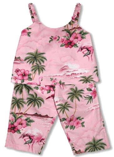 RJC Girls Pink Flamingo Hibiscus 2pc Capri Set Pink 2 by RJC