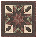 Twinkle Star/Holly Plaid Wall Hanging Quilt 18 Inches by 18 Inches 100% Cotton Handmade Hand Quilted Heirloom Quality