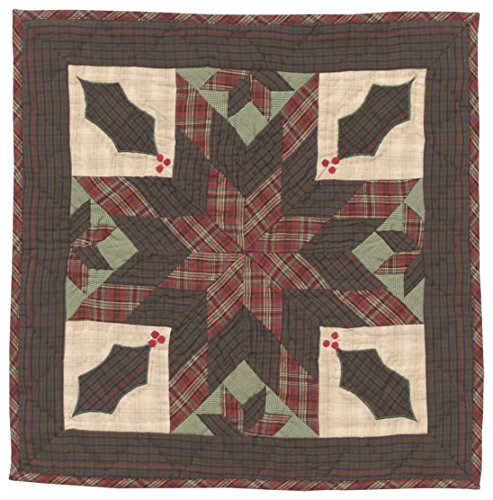 Twinkle Star/Holly Plaid Wall Hanging Quilt 18 Inches by 18 Inches 100% Cotton Handmade Hand Quilted Heirloom Quality (Country Quilt Wall Hanging compare prices)