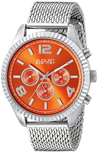August Steiner Men's AS8196OR  Round Orange Radiant Sunburst Dial Two Time Zone Quartz Bracelet Watch