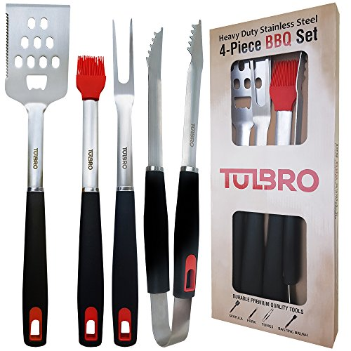 BBQ Grill Set Heavy Duty Utensils. Extra Strong Spatula, Tongs, Fork, Basting Brush. Sturdy Stainless Steel Premium Grill Tools for Barbecue. Grill Accessories + Gift Box (USA SELLER)