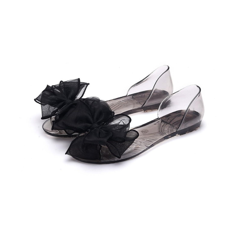 OMGard ™ Women Summer Jelly Ribbon Bow Flip Flops Thong Flat Sandals Shoes