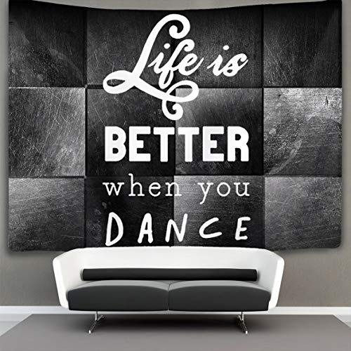 POP MKYTH Life is Better When Dance Wall Tapestry Hippie Art Tapestry Wall Hanging Home Decor Extra Large tablecloths 50x60 inches for Bedroom Living Room Dorm Room
