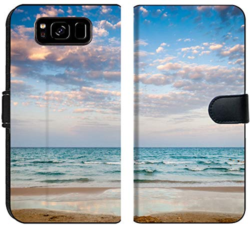 Luxlady Samsung Galaxy S8 Flip Fabric Wallet Case Image ID: 27338906 Tropical Beach and Beautiful Sea at Cloudy Sunset