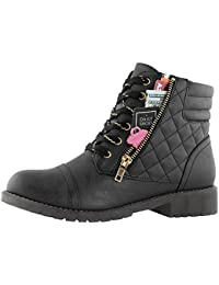 Women's Military Combat Boots Quilted Hiking Lace up Buckle Ankle High Exclusive Credit Card Pocket