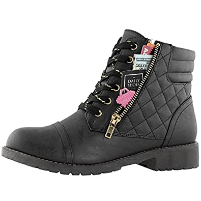 DailyShoes Women's Military Combat Boots Quilted Lace Up Buckle Ankle High Exclusive Credit Card Pocket, Premium Black Pu, 5 B(M) US