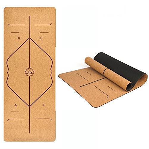 renensin Yoga Mat, corkwood & TPE Extra Thick Non Slip Exercise & Fitness Mat for All Types of Yoga, 26 X 72 Inch Pilates & Floor Exercises, 1/5 inch thickness (burlywood)