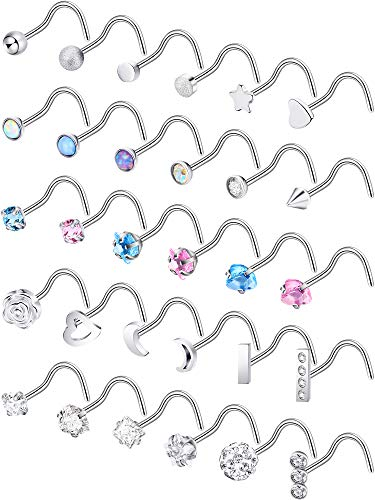 Jovitec Stainless Steel Nose Stud Set Steel Nose Ring Rose Ball Labret Body Piercing Jewelry for Party Wear or Clothes Matching, 20 G (Curved Shape A) ()