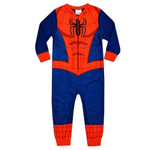 Spiderman Kids All in One Boys Girls Childrens Fleece Onesie Sleepsuit Pyjamas 2-8 Years