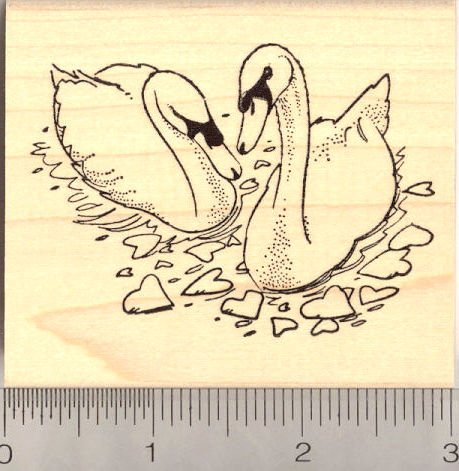 Loving Swans with Hearts Rubber Stamp