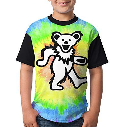 TGDBS1 Smile Grateful Dead Bear Kids' Boys' Short Sleeve 3D Printed T-Shirts/Tee Shirt Gifts Black