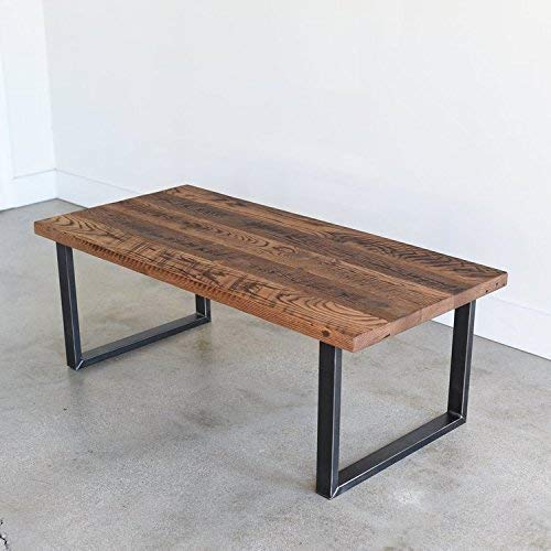Amazon Com Reclaimed Wood Coffee Table With Industrial U Shaped