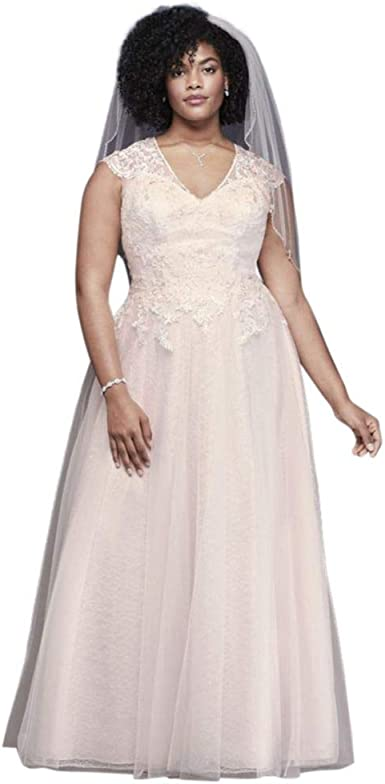 Amazon Com Tulle Over Lace Plus Size A Line Wedding Dress Style 9wg3859 Clothing