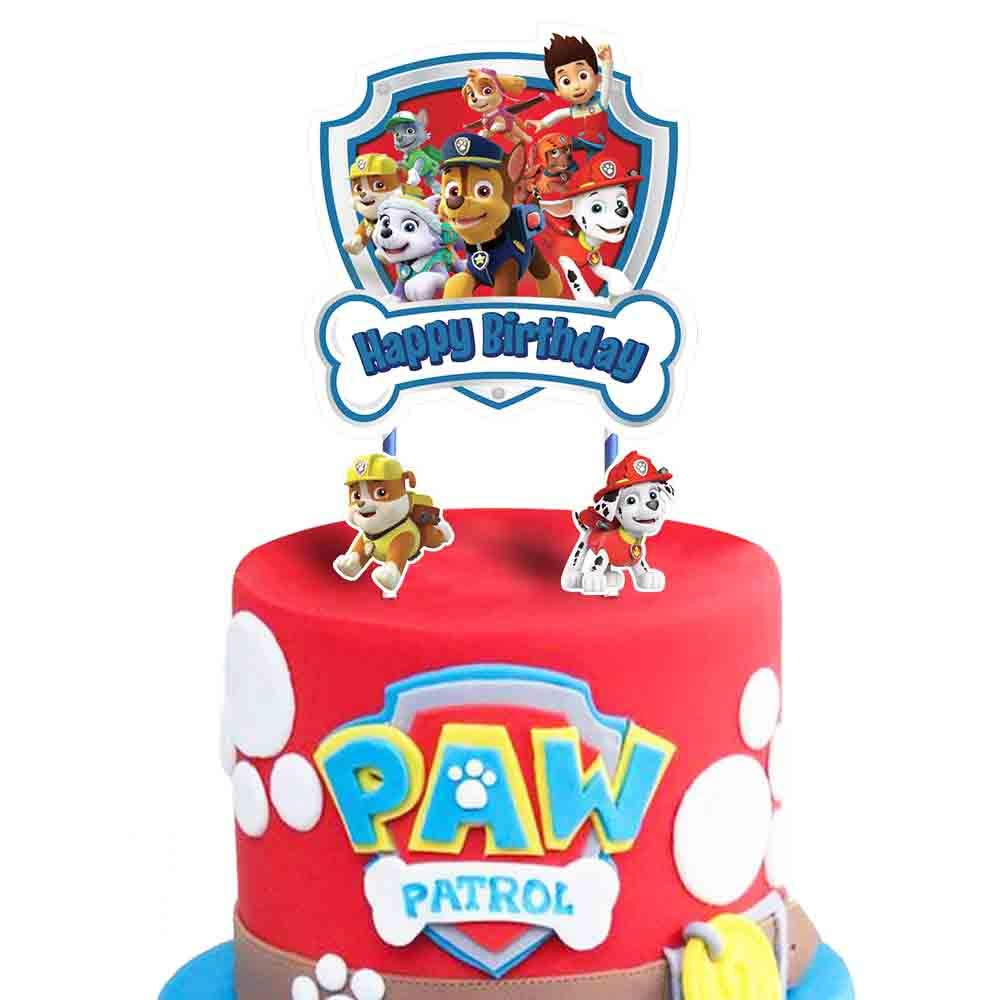 Toppers for Paw Patrol Cake Topper, Happy Birthday Cake Toppers, Cake Decorations for Bday Theme Party