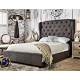 Dimensions of Eastern King Size Bed Furniture of America Callista Flax Fabric Bed with Wingback Tufted Headboard Design, Eastern King, Gray