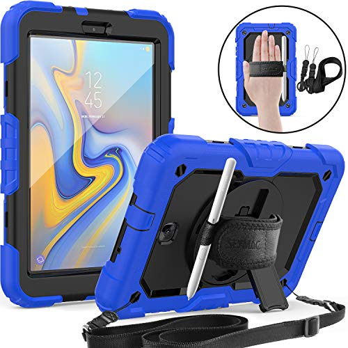 SEYMAC Galaxy Tab A 8.0 (SM-T387) Case, [Shoulder Strap&Hand Strap] [Pen Holder] 360 Rotating Stand Full Body Rugged Protection Case with Screen Protector for Samsung Tab A 8.0 2018-Blue/Black (Tmobile Case S2 Samsung Galaxy)