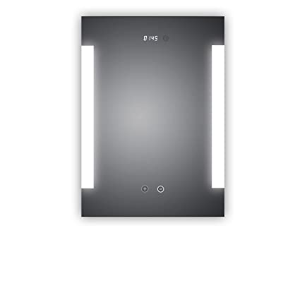Espejo con Reloj digital LED de baño y antiniebla Espejo Calefacción, Fulda