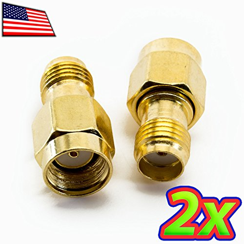 UPGRADE INDUSTRIES - [2x] RP-SMA Male to SMA Female Straight Antenna Converter Adapter RF RC Wifi by UPGRADE - Tracking Day Mail Priority 2