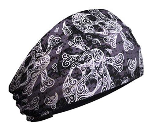 (That's A Wrap Women's Swirly Skulls & Crossbones Knotty Band Headwrap, KB2815 Black)