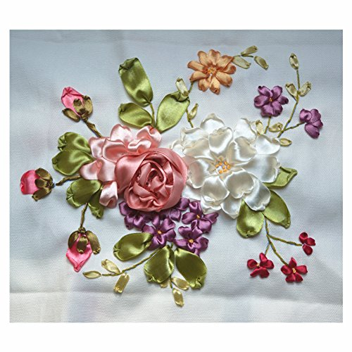 Egoshop Silk Ribbon Embroidery Kit Small FreshDIY Wall Decor Silk Ribbon Embroidery (French Silk Ribbon)