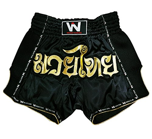 nal Muay Thai Shorts for Kick Boxing Fight LUMRTO-010 (XL, Black Win) ()