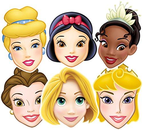 Star Cutouts SMP50 Disney Princesses, Party 6 Pack - (Snow White, Cinderella, Belle, Tiana, Rapunzel & Aurora) Rapunzel/Aurora Mask, One Size