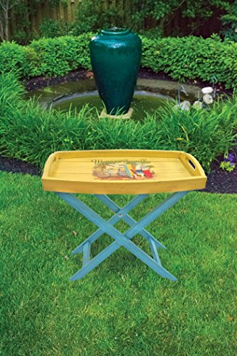 """Margaritaville Outdoor """"Island Life Butler Table - Constructed using Forest Stewardship Council (FSC) Poplar Wood Finished with 7 layers of quality Sherwin-Williams paint Margaritaville Parrot in Hammock logo - patio-tables, patio-furniture, patio - 51lLVu1XlGL -"""