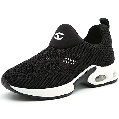 BODATU Kids Boys Girls Running Shoes Comfortable Fashion Light Weight Slip on Black Size 33