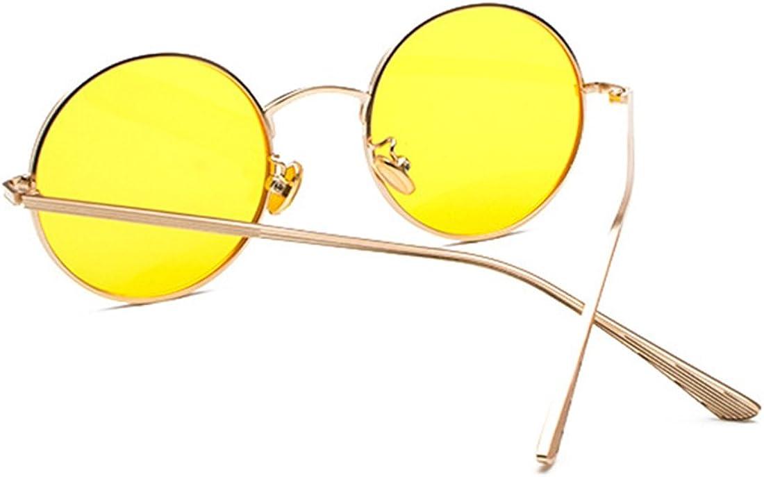Inlefen Verres /à monture ronde en m/étal Lunettes de soleil Vintage Circle pour hommes et femmes