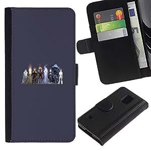YiPhone /// Tirón de la caja Cartera de cuero con ranuras para tarjetas - Elementos Heros - Samsung Galaxy S5 V SM-G900