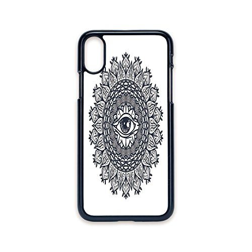 Phone Case Compatible with iPhone X 2D Print Black Edge,Occult Decor,Vintage Circular Occult Pattern Knowledge of The Hidden Third Eye Providence Symbol,Grey,Hard Plastic Phone Case