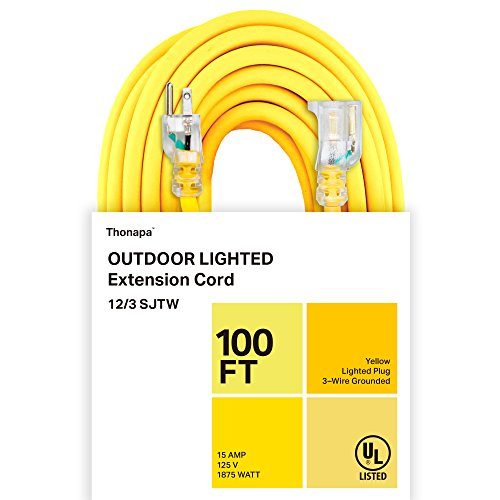 Thonapa 100 Foot Lighted Outdoor Extension Cord - 12/3 SJTW Heavy Duty Yellow Extension Cable with 3 Prong Grounded Plug for Safety - Great for Garden and Major Appliances - 100' Extension 12/3 Cord