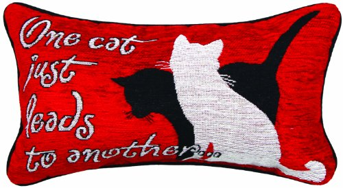 Manual Kitty Talk Pet Collection Throw Pillow with Piping, 17 X 9-Inch, One Cat Leads to Another X Kate Ward