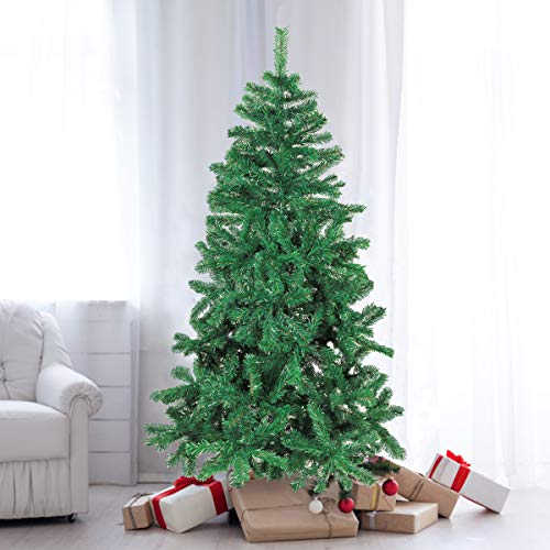 SUNCOM 5 Feet Christmas Tree, Artificial Christmas Pine Tree Full Branch 500 Tips with Solid Metal Stand for Xmas Day New Year DIY Festival Decor, Indoor and Outdoor Decoration