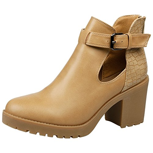 Womens Tan Madeleine Heel Mid Out Thick Block Leather First Faux Beige Boots Ankle Cut Feet Fashion qBntOwFx4