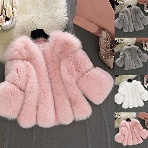 Femmes Veste Fourrure Parka Outwear Automne Sunenjoy Manches Court Gris Fausse Hiver Blousons Manteau Épaissir Longues Luxe 1UffXdn