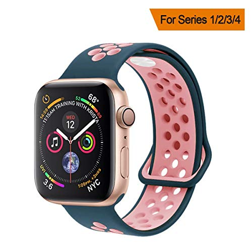 YC YANCH Greatou Compatible for Apple Watch Band 38mm,Soft Silicone Sport Band Replacement Wrist Strap Compatible for iWatch Apple Watch Series 3/2/1,Nike+,Sport,Edition,S/M,Lightpink Midnightblue