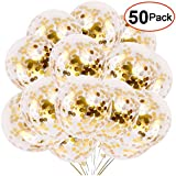 50pcs Gold Confetti Balloons, 12 Inch Latex Party Balloons with Golden Paper Confetti Dots for Wedding Engagement Party Decorations.