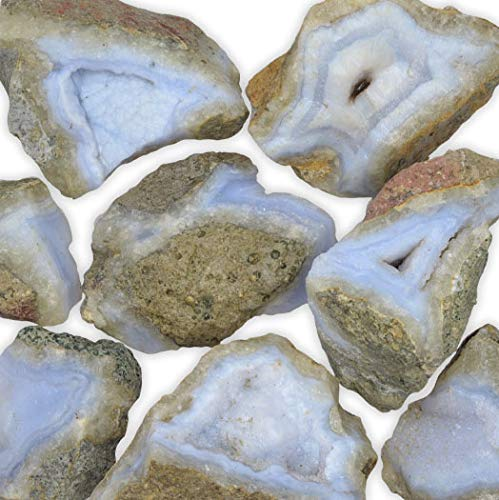 Hypnotic Gems Materials: 1 lb Bulk Rough Glacial Blue Lace Agate Stones from Namibia - Raw Natural Crystals and Rocks for Cabbing, Lapidary, Tumbling, Polishing, Wire Wrapping, Wicca and Reiki