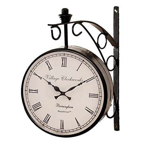 RoyalsCart Double Sided Vintage Victoria Railway Station Analog Wall Clock -