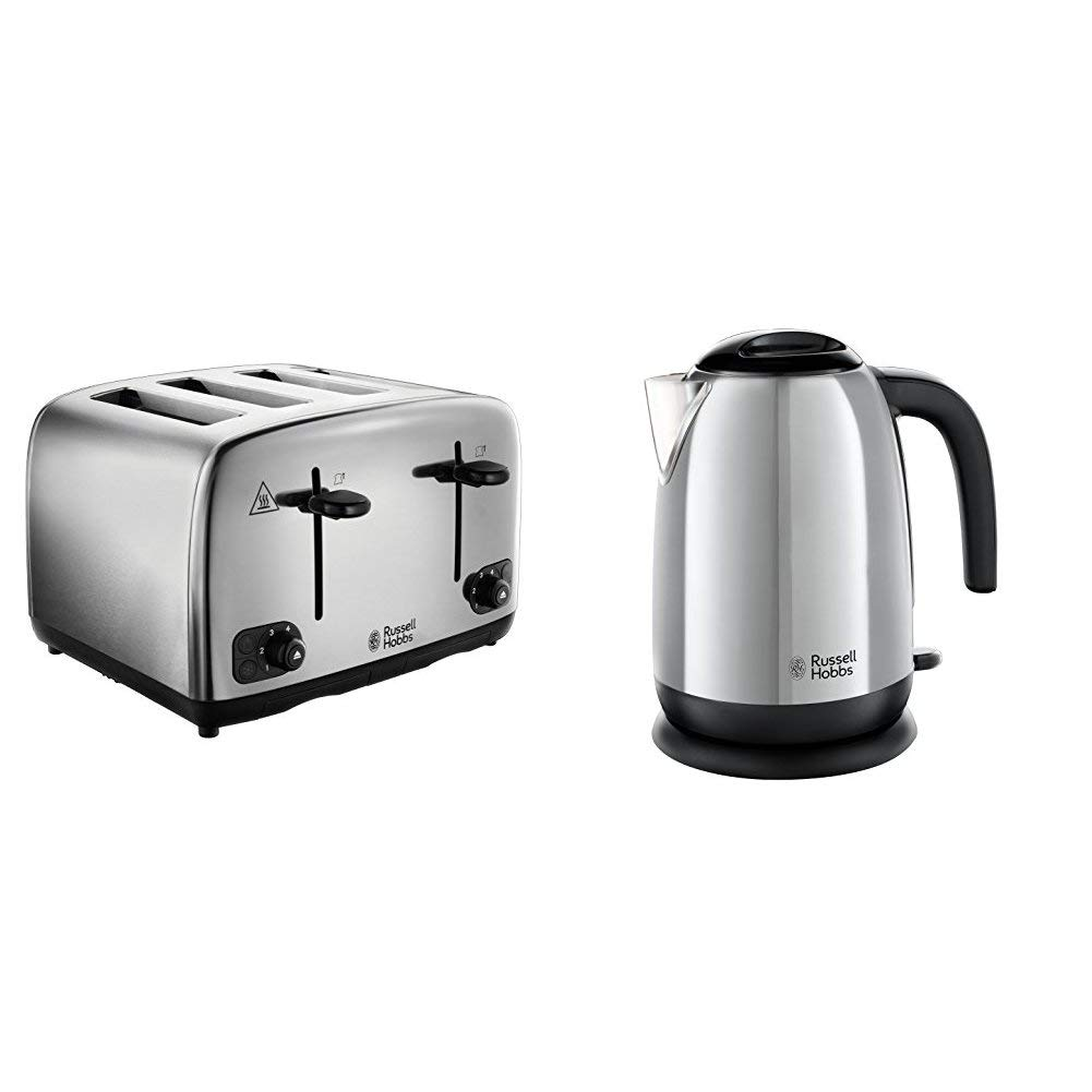 Russell Hobbs Adventure Brushed and Polished Stainless Steel Four Slice Toaster with Brushed Kettle Bundle