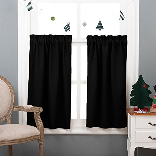 Half Window Black Out Valances - Rod Pocket Tailored Tier / Cafe Curtains for Kitchen by NICETOWN (One Pair, 29-Inches Wide X 36 Inches Long, Black) (Curtain Tailored Long)