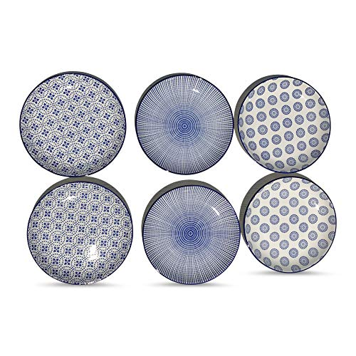 WHW Whole House Worlds Summertime Blue and White Dishes, Set of 6, 2 Trellis, 2 Rounds and 2 Stripes, Dishwasher Safe, Stoneware, 6 1/2 Inches Diameter