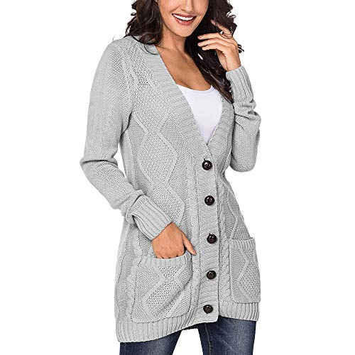 Kalin Women Open Front Button Down Chunky Cable Knit Cardigan Sweater Coat with Pockets Gray -