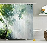 Rainforest Shower Curtain Rainforest Decorations Shower Curtain Set By Ambesonne, Sunbeam Between Shadows Of Trees Idyllic Scenery Of Solitude In Jungle Theme, Bathroom Accessories, 69W X 70L Inches, Green