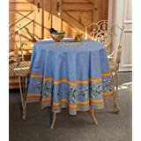 Clos des Oliviers Bleu Round French Tablecloth, 71 in diameter, Coated Cotton by Occitan Imports