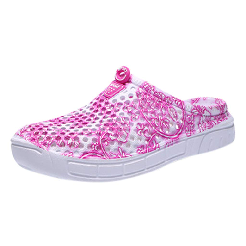 Creazrise Unisex Garden Clogs Shoes Slippers Sandals for Women Men Walk Quick-Dry Lightweight Breathable Pink