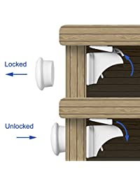 Adoric Latch Locks(12Locks+2Keys) with Magnetic Power, 3M adhesive attached(White) BOBEBE Online Baby Store From New York to Miami and Los Angeles