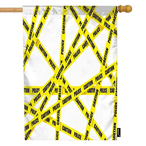 Moslion Tape House Flag Caution Police Ribbon Safety Cordon No Crime Garden Flags 28x40 Inch Double-Sided Banner Welcome Yard Flag Home Outdoor Decor. Lawn Villa]()