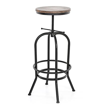 f9cb852712ce Amazon.com  IKAYAA Industrial Style Bar Stool Adjustable Height Swivel  Kitchen Dining Chair Natural Pinewood Top  Kitchen   Dining